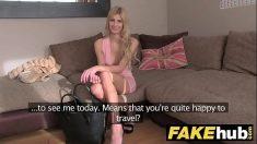 Brit Blonde orgasms during Casting Porno